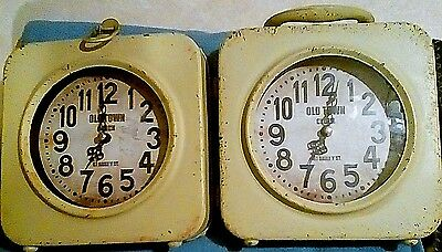Distressed Vintage Style Old Town Double Sided Metal YELLOW Shelf/Mantel Clock