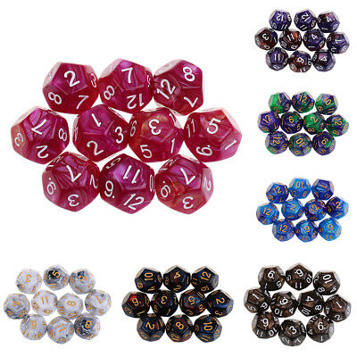 10pcs 12 Sided Dice D12 Polyhedral Dice for Dungeons and Dragons Table Games