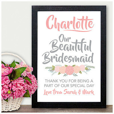 Personalised Thank You Gift Present Bridesmaids Flower Girl Maid Honour Keepsake