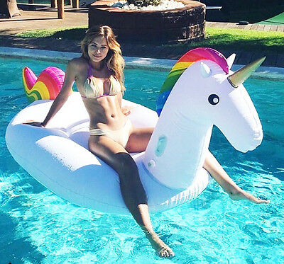 Giant Inflatable Unicorn Water Float Raft Ride On Pool Lounger Novelty Beach Toy