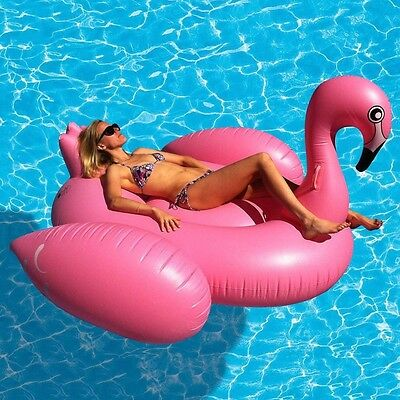 Giant Inflatable Flamingo Water Float Raft Ride On Pool Lounger Beach Toy