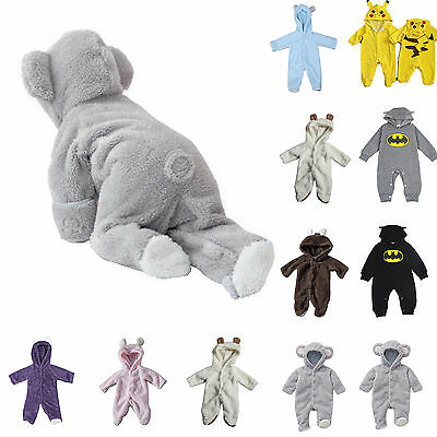 Newborn Baby Boy Girl Romper Hooded Hoody Jumpsuit Bodysuit Outfit Clothes 0-24M