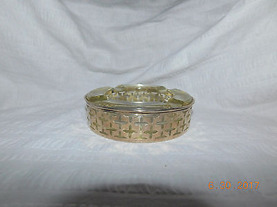 Vintage Mid Century Modern Sterling Silver Glass Ashtray Marked W 3117 42 Gram