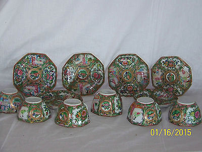 "Antique c1800's Chinese Rose Medallion  8 Sided Tea Cups & Saucer ""Set for 6"""