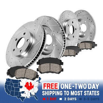 Front + Rear Drill Slot Brake Rotors And Ceramic Pads For Flex Taurus Sable MKS