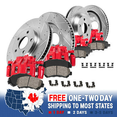 Front + Rear Red Brake Calipers & Rotors & Pads Fits SUBARU FORESTER IMPREZA WRX