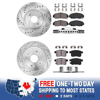 2X Front /& 2X Rear Discs Brake Rotors and Pads For 2011-2014 Honda Odyssey Slot