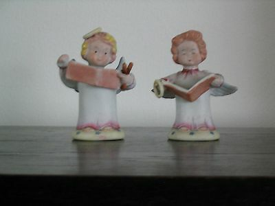 Pair of hand painted bisque angel figurines from Japan