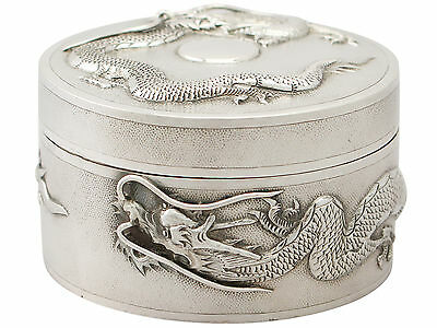 Antique Chinese Export Sterling Silver Box 1800s