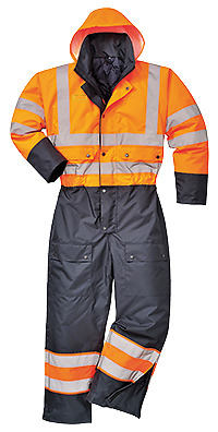 Portwest HiVis Contrast Coverall Lined - Regular, Orange/Navy, Size XXL