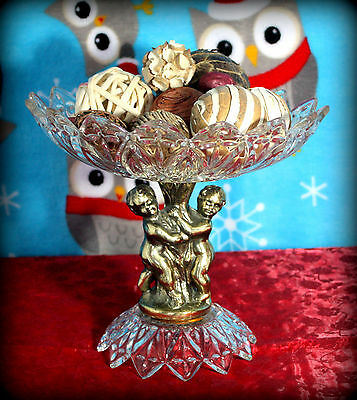 Vintage Brass And Glass Decorative Compote Dish With Cherubs & Decorative Balls