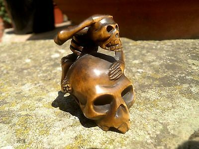 Hand Carved wood netsuke Skeleton on skull, vintage / antique style treen figure