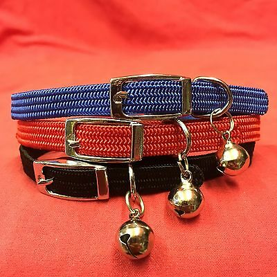 3 x Cat Kitten Collars FULLY Elasticated Buckle Red EXTRA SAFETY COLLAR and BELL