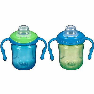 Playtex Sipsters Stage 1 Soft Spout Sippy Cups for Boys 2 Count Removable handle