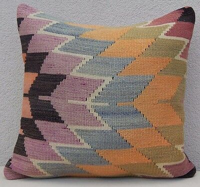 20'' X 20'' Zig zag Pattern Vintage Turkish Woven Faded Kilim Rug Pillow Cover