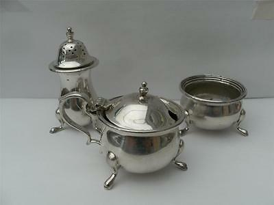 SOLID SILVER CRUET CONDIMENT SET Sheffield 1962