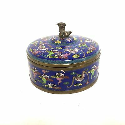 Chinese Cloisonne Covered Box with Foo Dog