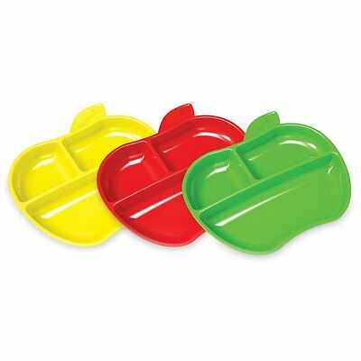 Munchkin Apple Shaped Toddler Plates with 3 divided sections - Pack of 3  *48h*
