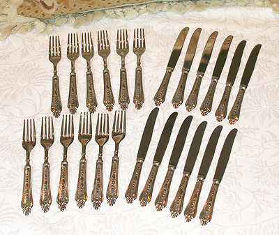 Lbl Italy Silver Plate Forks & Knives 24 Piece Set Setting Silverware Flatware