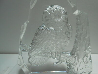 Vintage L E Smith Glass Owl Iceberg Clear Glass Paperweight Beautiful