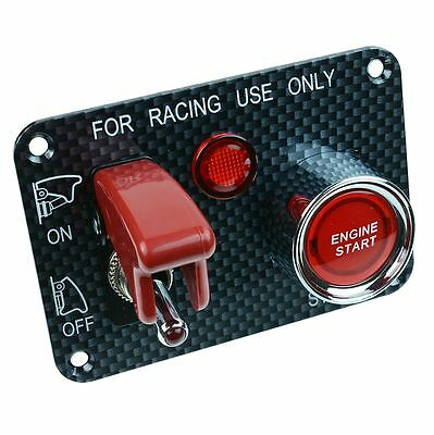Red Automotive Race Car Control Panel Start Switch 12V DC Carbon
