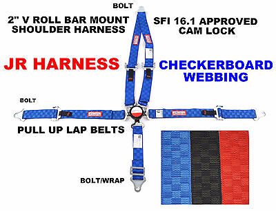 """Jr Dragster Racing Harness 5 Point 2"""" Sfi 16.1 Pull Up Lap Blue Checkerboard"""