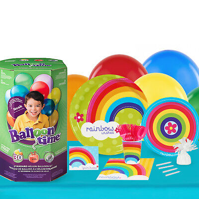 Rainbow Wishes 16 Guest Kit with Tableware and Helium Kit