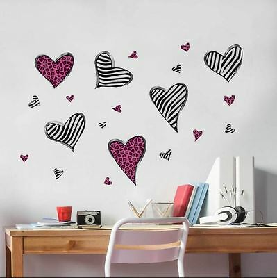 Wall Decor For Teen Girls Zebra Hearts Removable Stickers Decals Bedroom Walls
