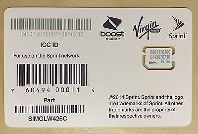 New Sprint, Boost, Virgin Mobile NANO Sim Card SIMGLW426C 4g LTE Replacement
