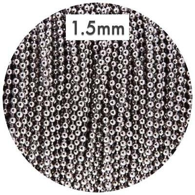 1.5mm ball chain STAINLESS STEEL for silicone jewellery DIY necklace cord silver