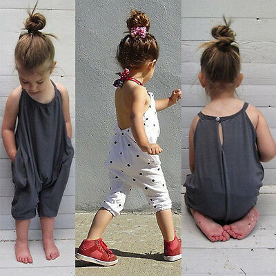 Toddler Kids Baby Girls Straps Romper Jumpsuit Bodysuit Outfits Clothes Age 1-7Y