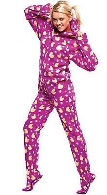 Unisex Ultra Soft Purple & Yellow Ducks Adult Sized Footed Hooded Pajamas