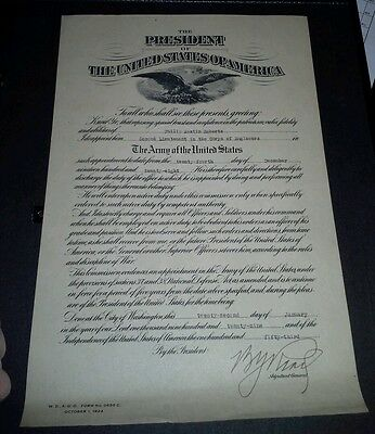 Vintage U.S. Army Corps of Engineers Commission certificate 1928 2nd Lieutenant