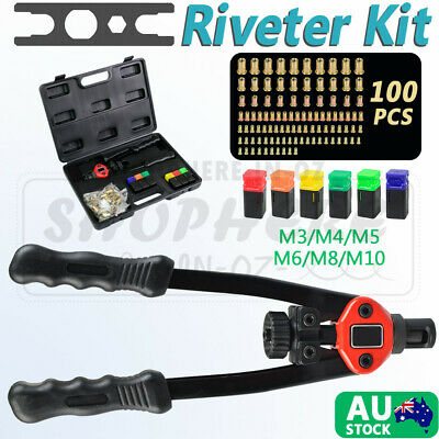 107pcs Nut Rivet Riveter Rivnut Nutsert Gun Riveting Kit M3-M8 Threaded Mandrels