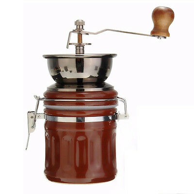 Retro Stainless Steel Ceramic Manual Coffee Bean Grinder Nut Mill Hand Grin L5G4