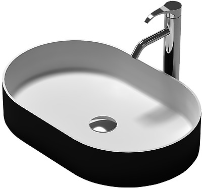 "Bathroom Oval Above Counter Top Basin ""Stone"" Solid Surface Matt Finish Black"