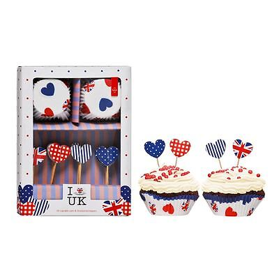 I Love UK Cupcake Cases and Toppers, 24pcs Cupcake Cases/24pcs Toppers