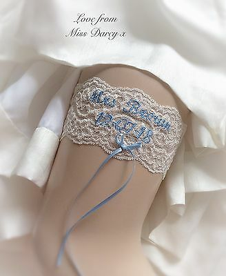 Bridal Garter Personalised ivory champagne blue bow name date Wedding