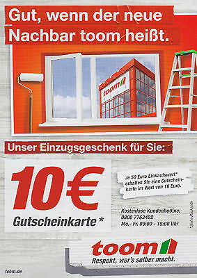 20 toom baumarkt gutschein 10 euro je 50 euro einkauf bis g ltig eur 15 00. Black Bedroom Furniture Sets. Home Design Ideas