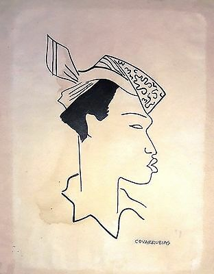 Miguel Covarrubias Original Ink On Thick Paper -Lady- Drawing Signed