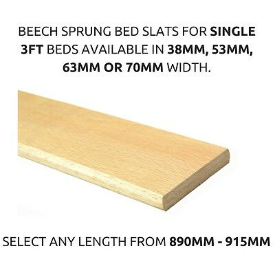 Replacement 3ft Single Curved Beech Sprung Bed Slats Slates 38mm,53mm,63mm,70mm