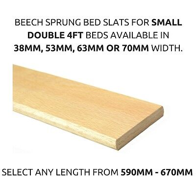 Replacement 4ft Small Double Beech Sprung Curved Bed Slat Slates 38mm,53mm,63mm
