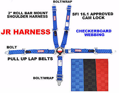 "Jr Dragster Harness 5 Pt 2"" Sfi 16.1 Pull Up Lap Belt Cam Lock Blue Checkerboard"