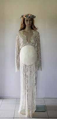 Cream Lace Maternity Dress Gown Drape - Photography Photo Prop