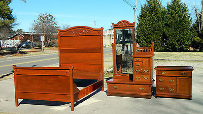 Victorian Walnut Bedroom Set Full-Bed Washstand Dresser with Dressing Mirror