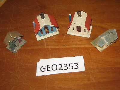 FLOCKED CARDBOARD CHRISTMAS HOUSES  LOT OF 4   [GEO2353bt]