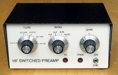 HF Switched Tuneable Preamp 2-32MHz.  Made in Dorset UK.