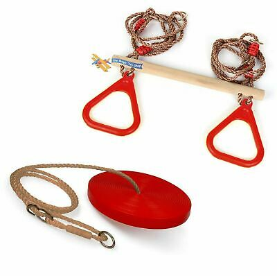 Set of Wooden Trapeze Monkey Bar Swing & Plate Disc Rope Swing Seat Garden Toy