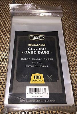 100 Ct Cardboard Gold GRADED CARD BAGS SLEEVES PSA BECKETT Pack NEW Resealable