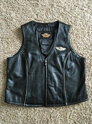 Women's Harley Davidson Black Commemorative 100 Years Leather Vest - Size XL